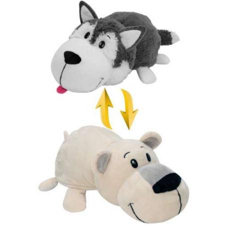 Мягкая игрушка вывернушка 1toy Хаски-Полярный медведь 40 см белый серый плюш Т10929 мягкая игрушка медведь disney винни плюш желтый 25 см 6901014010563