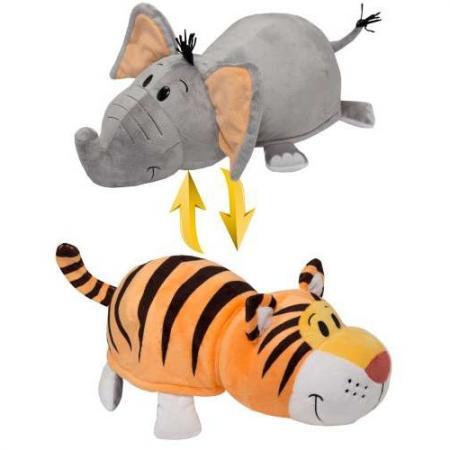 Мягкая игрушка вывернушка 1toy Вывернушка Тигр-Слон 40 см серый оранжевый текстиль Т10931 игрушка 1toy вывернушка 2в1 тигр слон т10876