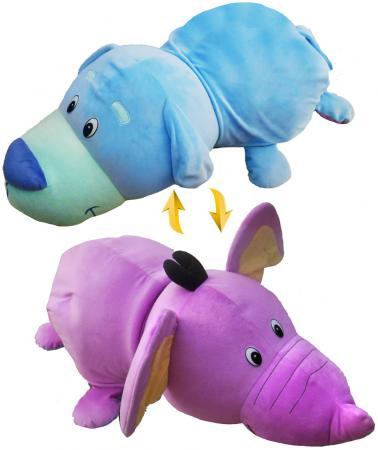 мягкие игрушки 1toy вывернушка подушка единорог щенок т12045 Подушка вывернушка 1toy Голубой Щенок-Фиолетовый Слон 76 см плюш