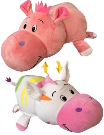 Подушка вывернушка 1toy Радужная Зебра-Розовый Гиппопотам 76 см плюш подушка вывернушка 1toy розовый кот мышка 35 см плюш