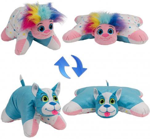 Подушка вывернушка 1toy Радужный Тролль-Блестящий Щенок плюш подушка вывернушка 1toy розовый кот мышка 35 см плюш