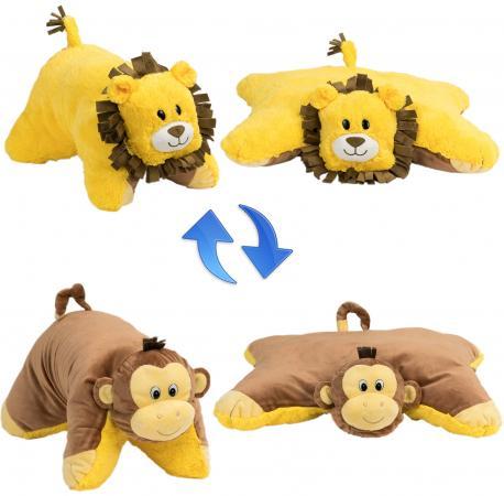 Подушка вывернушка 1toy Лев-Обезьянка коричневый желтый плюш подушка вывернушка 1toy розовый кот мышка 35 см плюш