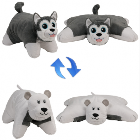 Вывернушка собака 1toy Хаски-Полярный Медведь 56 см белый серый плюш пластик наполнитель Т12043 вывернушка еж черепаха 1toy еж черепаха наполнитель плюш пластик 12 см