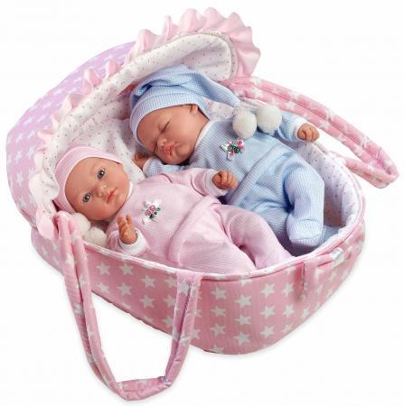 где купить Набор кукол Arias Пупсы-двойняшки Elegance с соской в переносной люльке 28 см Т11067 дешево
