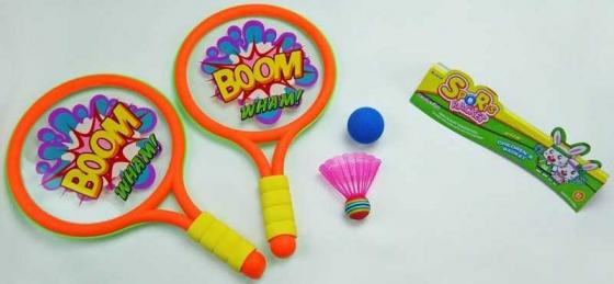 Спортивная игра бадминтон 1toy Boom! Wham! Т59929 1toy mookie игра спортивная twin jumbo catch 2 стаканчика 2 мячика 135999