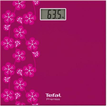 Весы напольные Tefal Premiss decor PP1073 рисунок розовый весы напольные tefal pp1061v0 premiss white стекло до 150кг