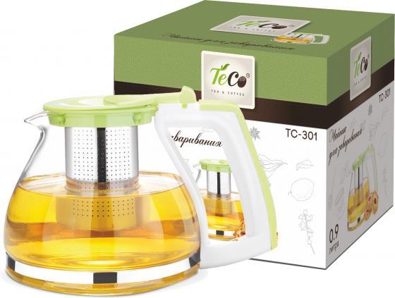 301-TC Чайник для заваривания 900 мл из стекла и пластика c ситом и крышкой fit tc 180 450