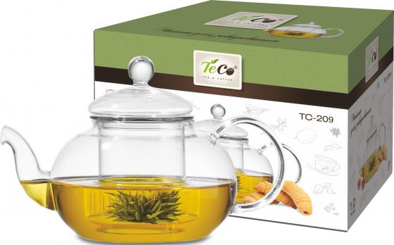 Чайник заварочный Teco TC-209 прозрачный 1 л стекло чайник заварочный 850мл teco tc 208