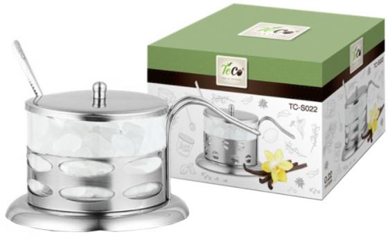 022S-TC-1(овалы) Сахарница TECO из стекла и нержавеющей стали (200мл) стакан стеклянный в подстаканнике 200мл teco tc g020 2