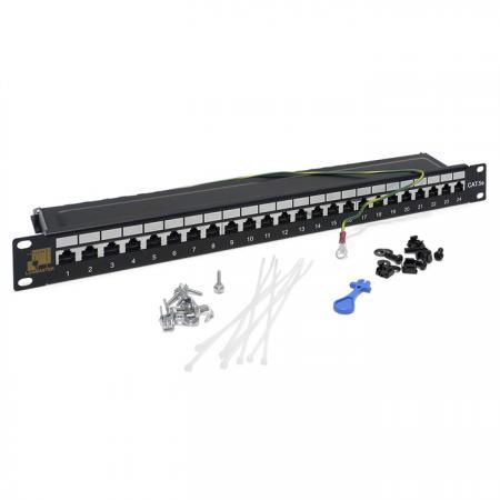 Патч-панель 19, 24 порта RJ-45, категория 5e, STP, 1U, LANMASTER патч панель lanmaster twt pp24utp 24 порта utp кат 5e 1u