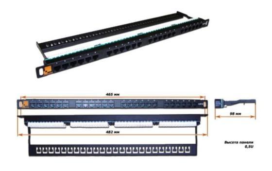 Патч-панель 19, 24 порта RJ-45, категория 5e, UTP, 0.5U, компактная, LANMASTER патч панель lanmaster twt pp24utp 19 1u