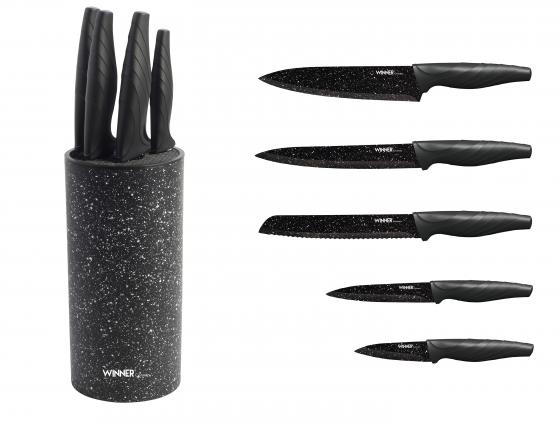цена на 7356-WR Ножи WINNER Набор из 5 предметов с подставкой.Состав : нерж. сталь. TWT-PDU10-10A4P