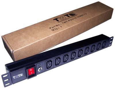 Блок розеток 19  шт. C13, 10A 250V, без шнура питания TWT-PDU19-10A9C3