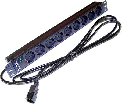Блок розеток 19 9 шт. без выключателя, 10A 250V, шнур питания с вилкой C14, 3.0 м TWT-PDU19-10A9P4-3.0 hot 10a 250v inlet module plug fuse switch male power socket 3 pin iec320 c14 new