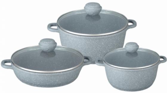 4608-BK Набор посуды SILVER MARBLE Premium 6пр.Состав: литой алюминий. набор посуды kovea silver 78