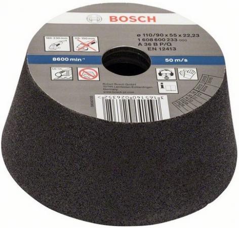 Круг шлифовальный BOSCH 1608600233 конусный чашечный 110мм K36 металл k36 450g