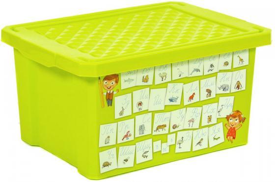 Littel Angel Детский ящик для хранения игрушек X-BOX Обучайка Азбука 17л салатовый little angel накладка на унитаз little angel голубой