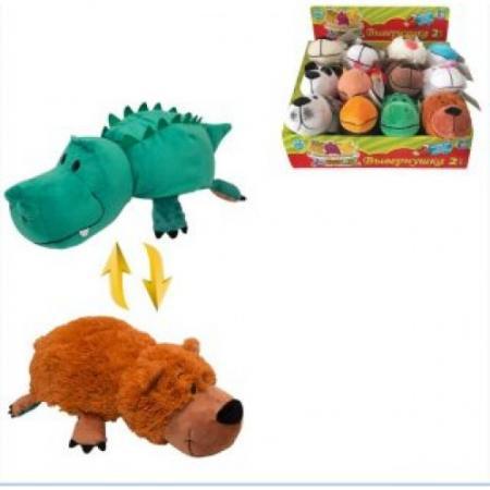 Мягкая игрушка вывернушка 1toy Аллигатор-Медвежонок 20 см зеленый коричневый плюш пластик Т10921 цена