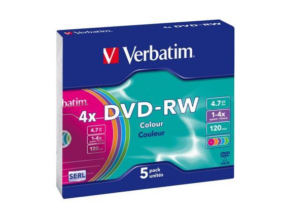 Диски DVD-RW Verbatim 4x 4.7Gb SlimCase 5шт 43563 диски dvd rw 4 7gb 4x verbatim