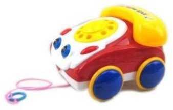 Каталка на шнурке Наша Игрушка Телефончик на веревочке пластик от 2 лет на колесах желто-красный 100312987 интерактивная игрушка наша игрушка телефончик е нотка от 18 месяцев цвет в ассортименте 60081
