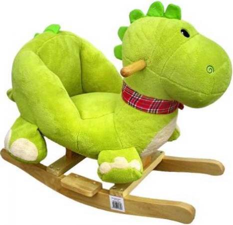 Каталка Наша Игрушка Динозаврик текстиль от 3 лет зеленый 61839