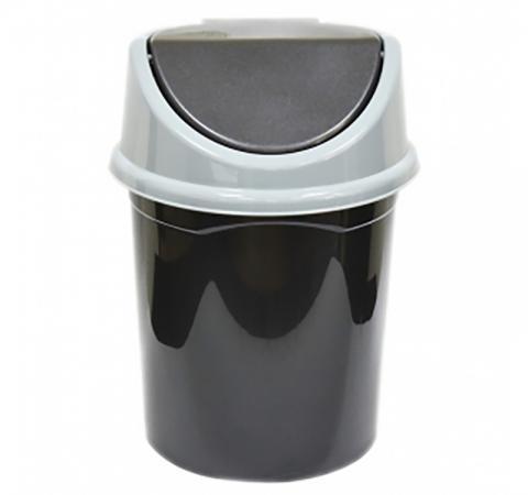 Ведро для мусора с подвижной крышкой Violet 0408/065 черный/серый