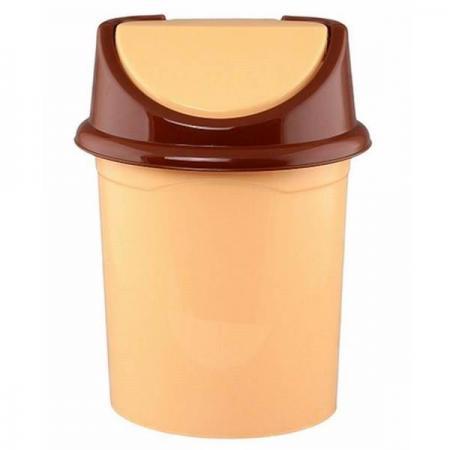 Ведро для мусора с подвижной крышкой Violet 0408/2 бежевый/коричневый контейнер для мусора violet дерево цвет коричневый желтый 4 л