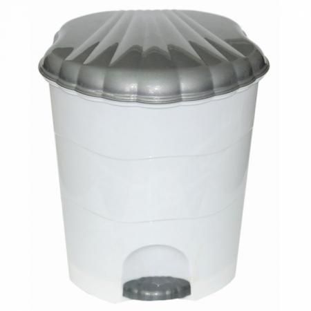 Ведро для мусора с педалью Violet 0511/1 белый/серый