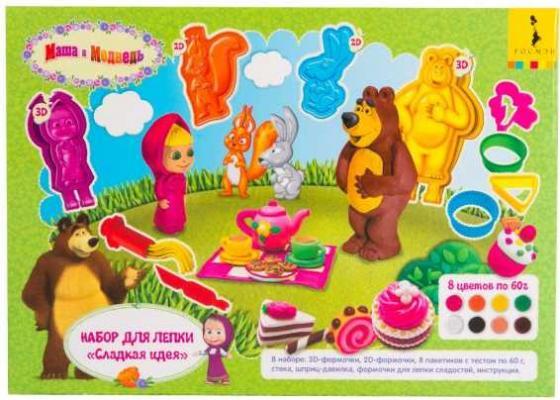 Набор для лепки Сладкая идея ТМ Маша и Медведь росмэн 100 наклеек маша и медведь