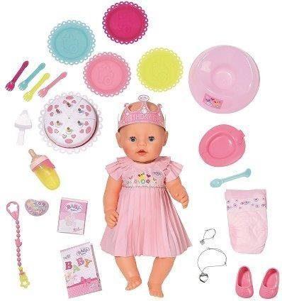 Кукла ZAPF Creation BABY born Интерактивная Нарядная с тортом 43 см плачущая пьющая писающая 825-129 кукла zapf creation беби анабель 43 см плачущая 626368