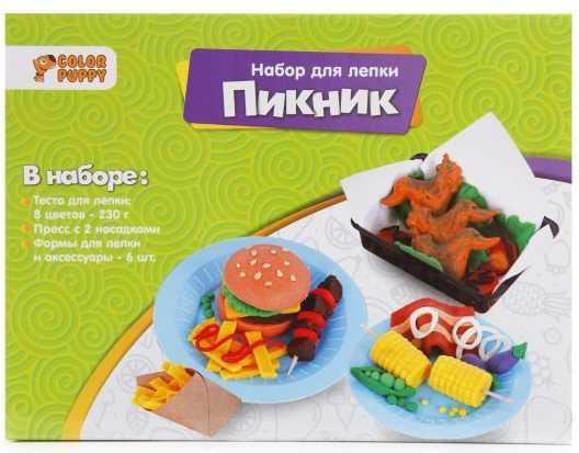 "цена на Набор для лепки ""Пикник"", тесто 230 г, аксессуары"