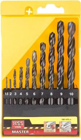 Набор сверл STAYER MASTER 2961-H10_z01 по металлу быстрорежущая сталь 1.5-10мм 10шт. набор сверл stayer master 2961 h10 z01