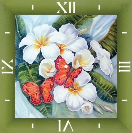 Алмазные часы Бабочки и магнолии 30*30 алмазные часы фен шуй благополучие 30 30