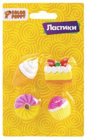 Ластики Пирожные, 4шт. набор бусин color puppy пирожные