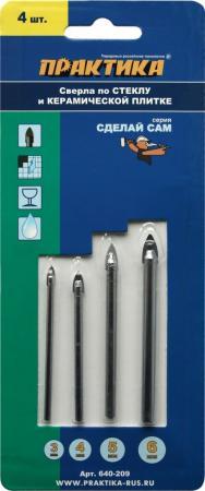 Набор сверл ПРАКТИКА 640-209 стекло и керамика, 4шт.: 3,4,5,6мм, блистер, Сделай сам украшение сделай сам ls19 diy