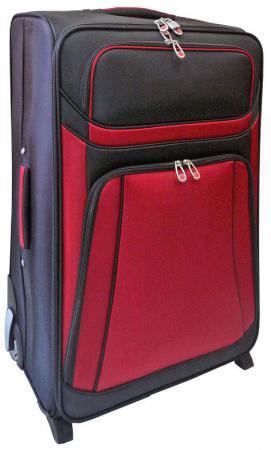 Чемодан дорожный на 2-х колесах, размер 28 70 x 44 x 24,5 см, 1 отд+2 кармана, чёрно-красный