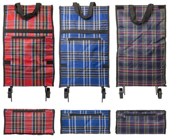 Сумка хозяйственная складная, с маленькими колесиками, размер сумки 52х30х14 см, ассорти 4 цвета шот