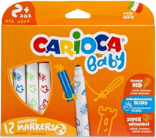 Набор фломастеров CARIOCA BABY 6 мм 12 шт 42814 набор фломастеров universal carioca joy 1 мм 6 шт разноцветный 40613 6 40613 6