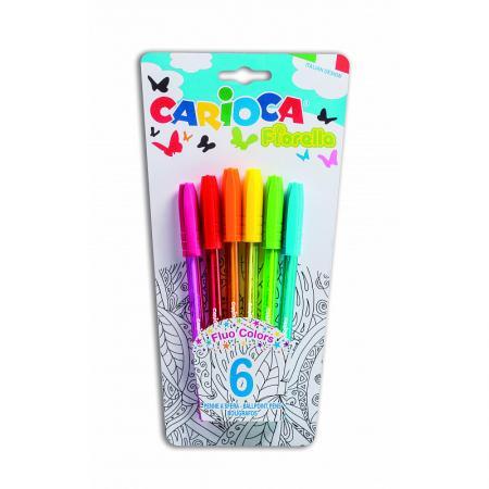 Набор шариковых ручек разноцветных CARIOCA FIORELLA, 6 цв, в блистере с европодвесом carioca набор смываемых восковых карандашей baby 8 цветов