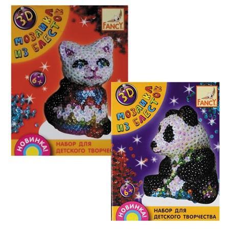 Набор д/творчества 3D МОЗАИКА ИЗ БЛЕСТОК, 4 дизайна (мишка, панда, дельфин, динозавр) creative elephant pattern 3d removable wall sticker