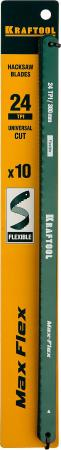 Полотно для ручной ножовки KRAFTOOL Max Flex 15941-24-S10 волнообразной разводкой 24TPI 10шт 300мм полотно пильное kraftool 159705 u28