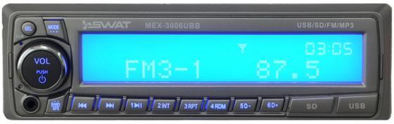 Автомагнитола Swat MEX-3006UBB 1DIN 4x50Вт автомагнитола swat chr 5140 2din 4x50вт