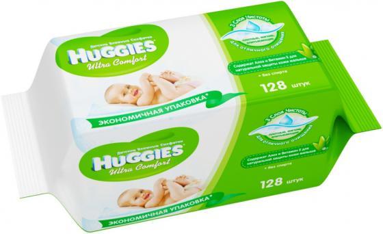 Салфетки влажные Huggies Ультра Комфорт - Алоэ Дуо 128 шт детские 2398694 huggies влажные салфетки детские элит софт дуо без отдушек 128 шт уп 5 упаковок