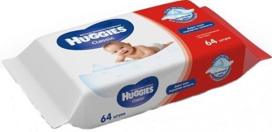 Салфетки влажные Huggies Classic 64 шт детские 2398564 салфетки влажные huggies ультра комфорт алоэ дуо 128 шт детские 2398694
