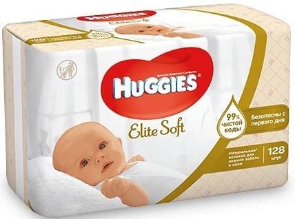 Салфетки влажные Huggies Элит Софт 128 шт детские 2398294 huggies влажные салфетки детские элит софт дуо без отдушек 128 шт уп 5 упаковок
