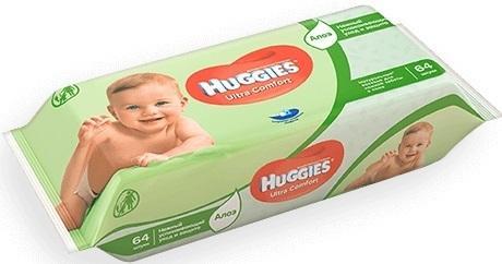Салфетки влажные Huggies Ультра Комфорт - Алоэ 64 шт детские 2398594 аура салфетки детские влажные ультра комфорт 72