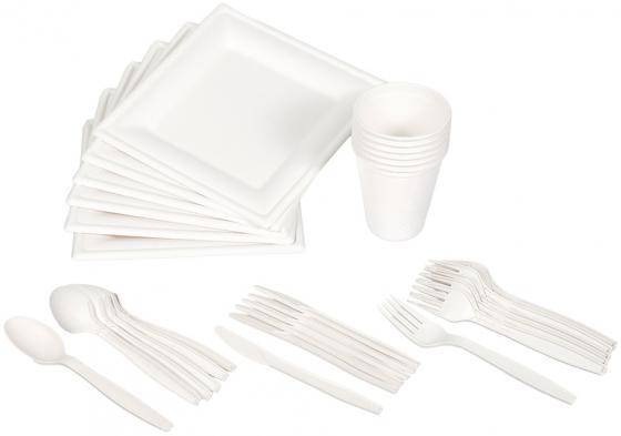 BOYSCOUT Набор для пикника БИОразлагаемый тарелки стаканы вилки ложки ножи по 6 шт набор для пикника boyscout из 3 х предметов