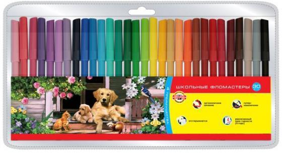 Набор фломастеров школьных SELFIES, 30 цветов, блистер цена
