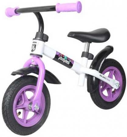 Беговел двухколёсный Moby Kids KidRun 10 10 бело-фиолетовый 641167 moby kids двухколёсный самокат moby kids со светящимися колёсами