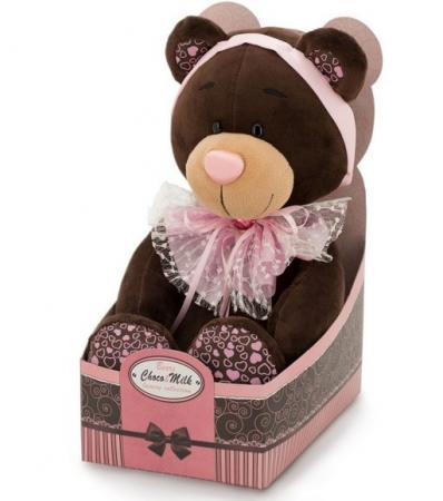 Мягкая игрушка медведь ORANGE Медведь Розовый бант 20 см коричневый розовый искусственный мех пластик М016/20 magic bear toys мягкая игрушка медведь с заплатками в шарфе цвет коричневый 120 см